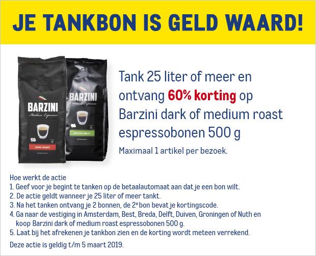 60% korting op Barzini espressobonen 500 gr -- na 25 liter tanken @ Makro