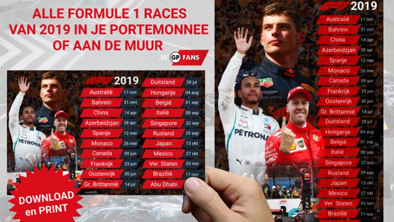 Gratis Formule 1 2019 kalender voor aan de muur of in je portemonnee