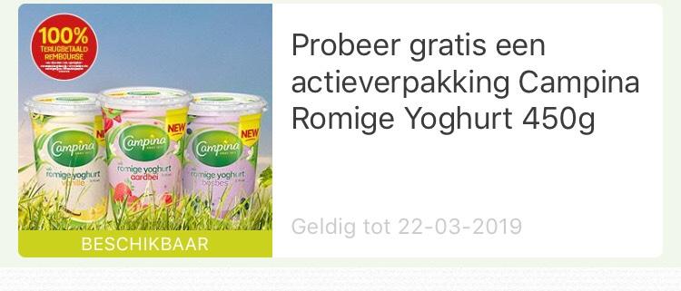 Probeer gratis een actieverpakking Campina Romige Yoghurt 450g@eurosparen