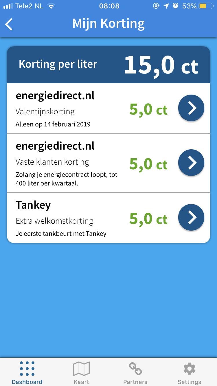 15 cent korting Tankey App