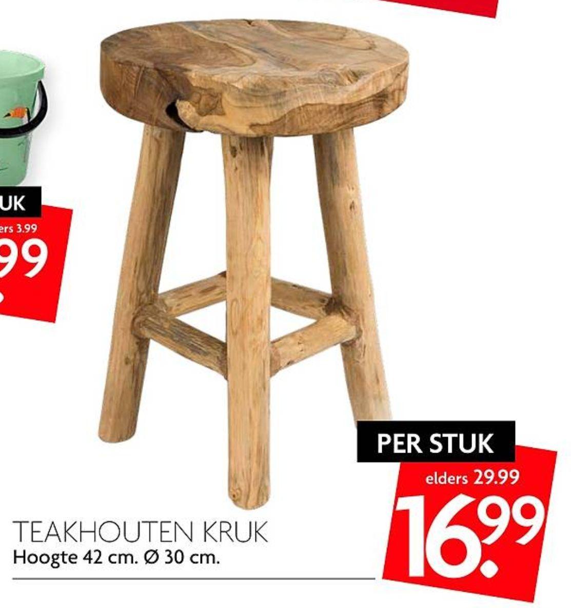Teakhouten Kruk (elders v.a. €29,99) @DekaMarkt