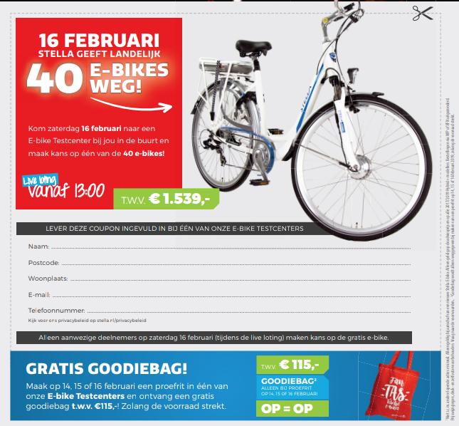 Gratis goodiebag bij proefrit op Stella e-bike