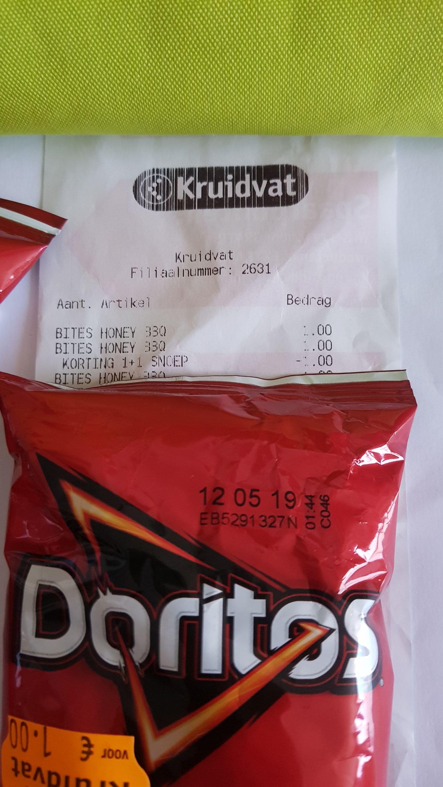 @Kruidvat, 1+1 Doritos bits honey bbq flavour 2x95gr