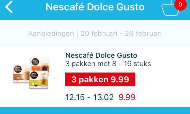Dolce Gusto alle smaken 3 dozen voor € 9,99 bij Hoogvliet