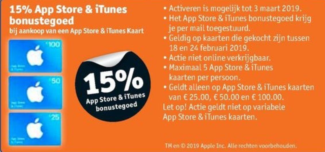 15% extra tegoed ITunes/app store  (Trekpleister en kruidvat)