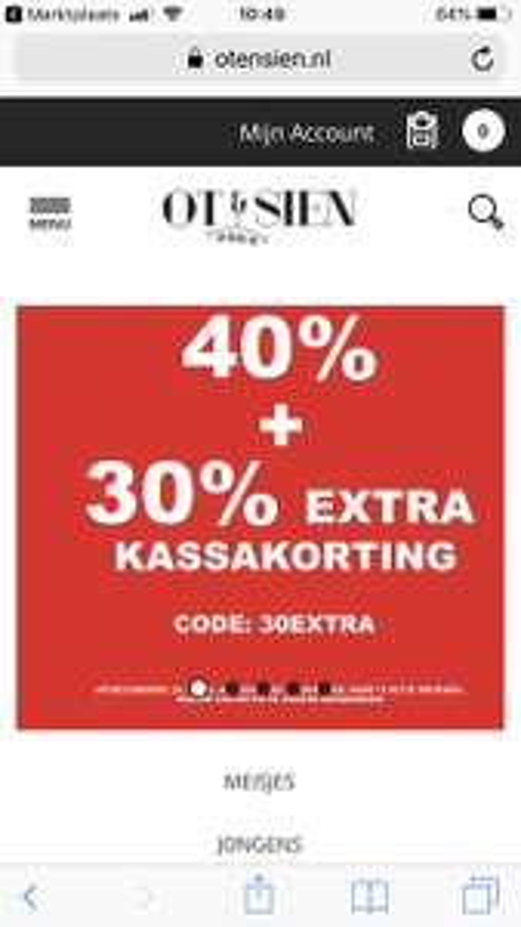 Kinderkleding 40%korting +30% extra met code