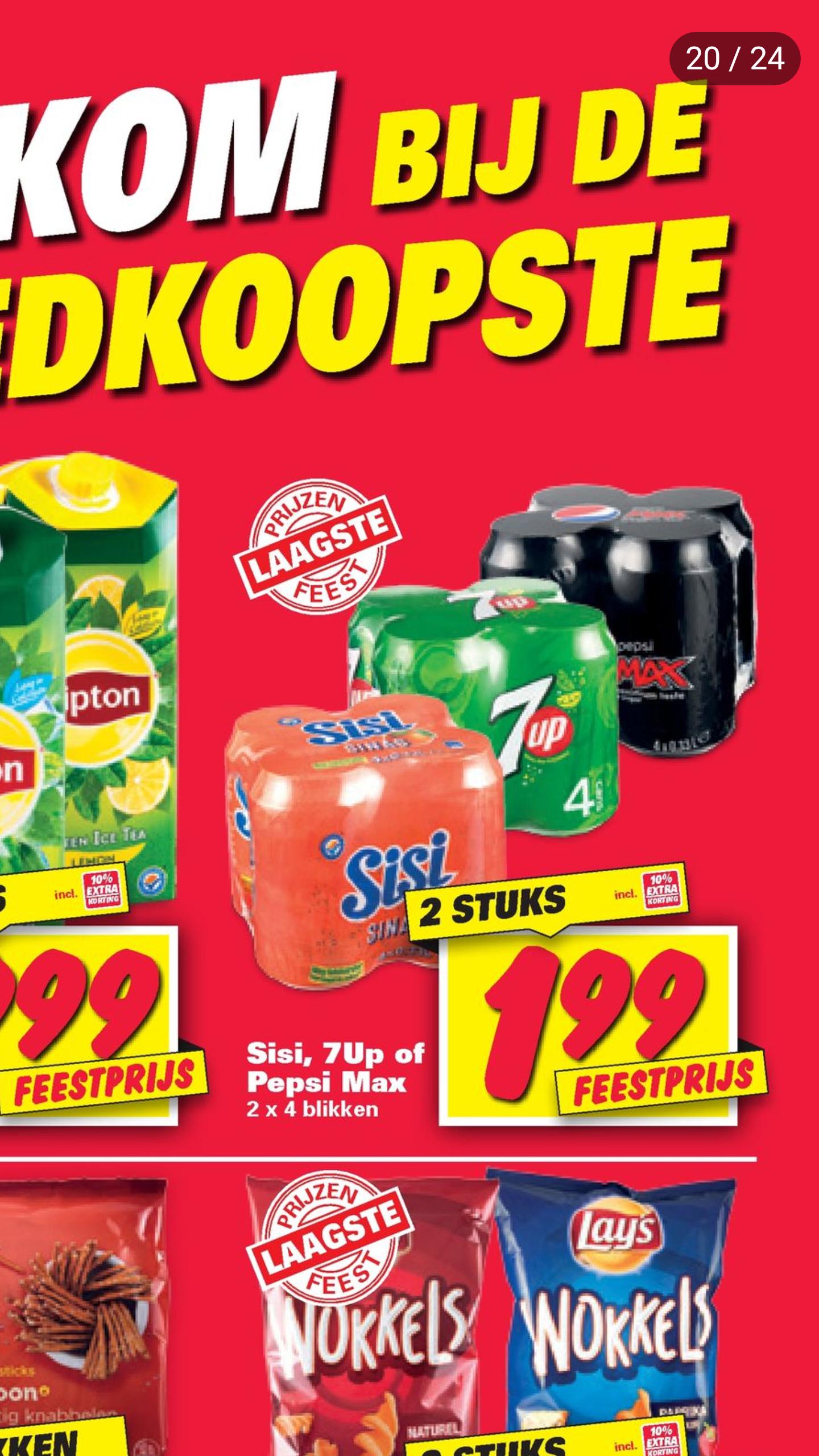 8 blikjes Pepsi, Sisi of 7up voor €1,99