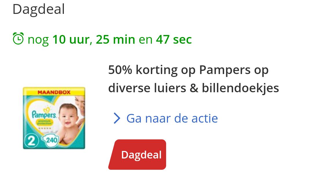 [Bol.com dagdeal] 50% korting op Pampers luiers en billendoekjes