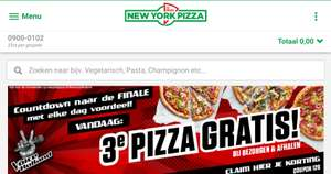 Vandaag 3e pizza gratis New York Pizza