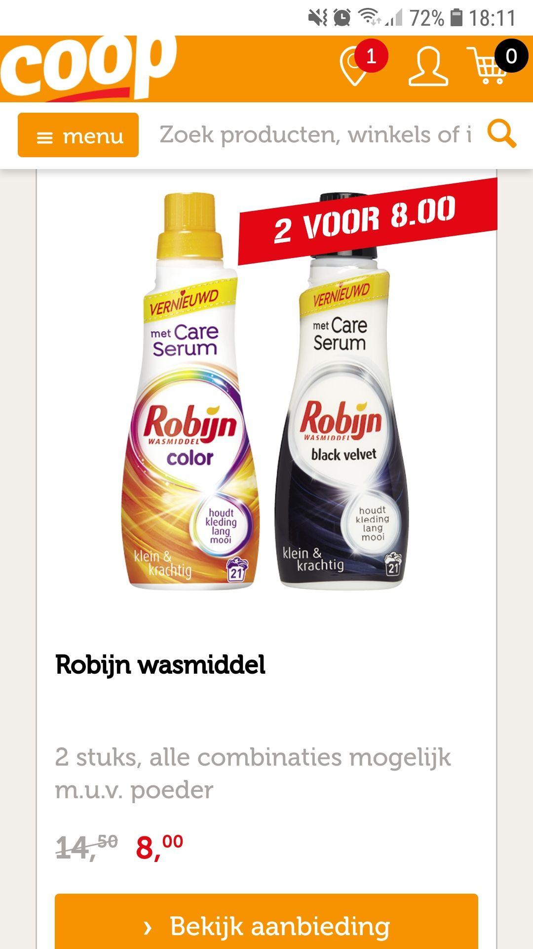 Robijn wasmiddel 2 stuks voor 8 euro @Coop