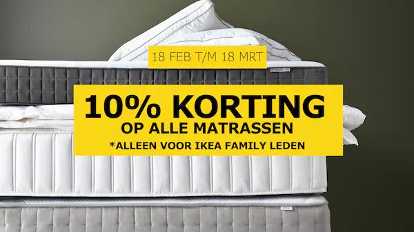 Bij Ikea 10% korting op matrassen en boxprings