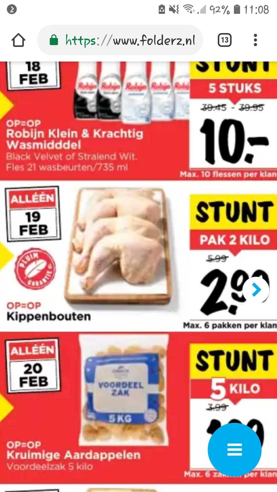 dagdeals @ vomar, vandaag 2kg kippenbouten voor 2.99