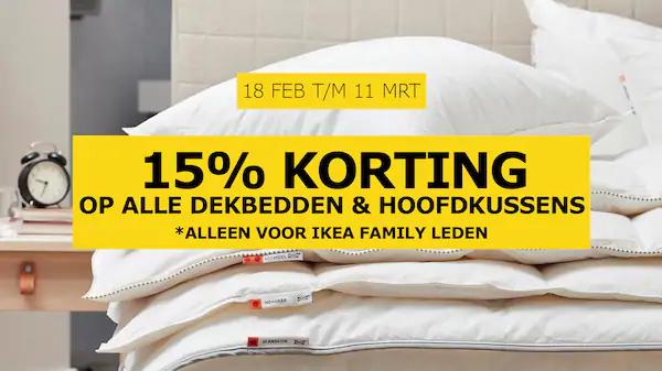 15% korting op ikea dekbedden & kussens