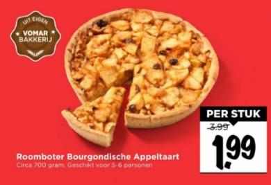 Roomboter bourgondische appeltaart voor €1,99