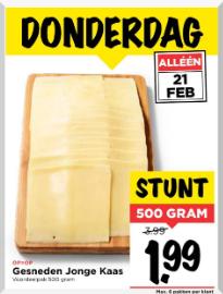 500 gram jonge kaas voor €1,99 @ Vomar