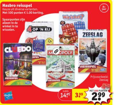 Hasbro reisspellen €3,99 - met 100 punten €2,99 @ Kruidvat