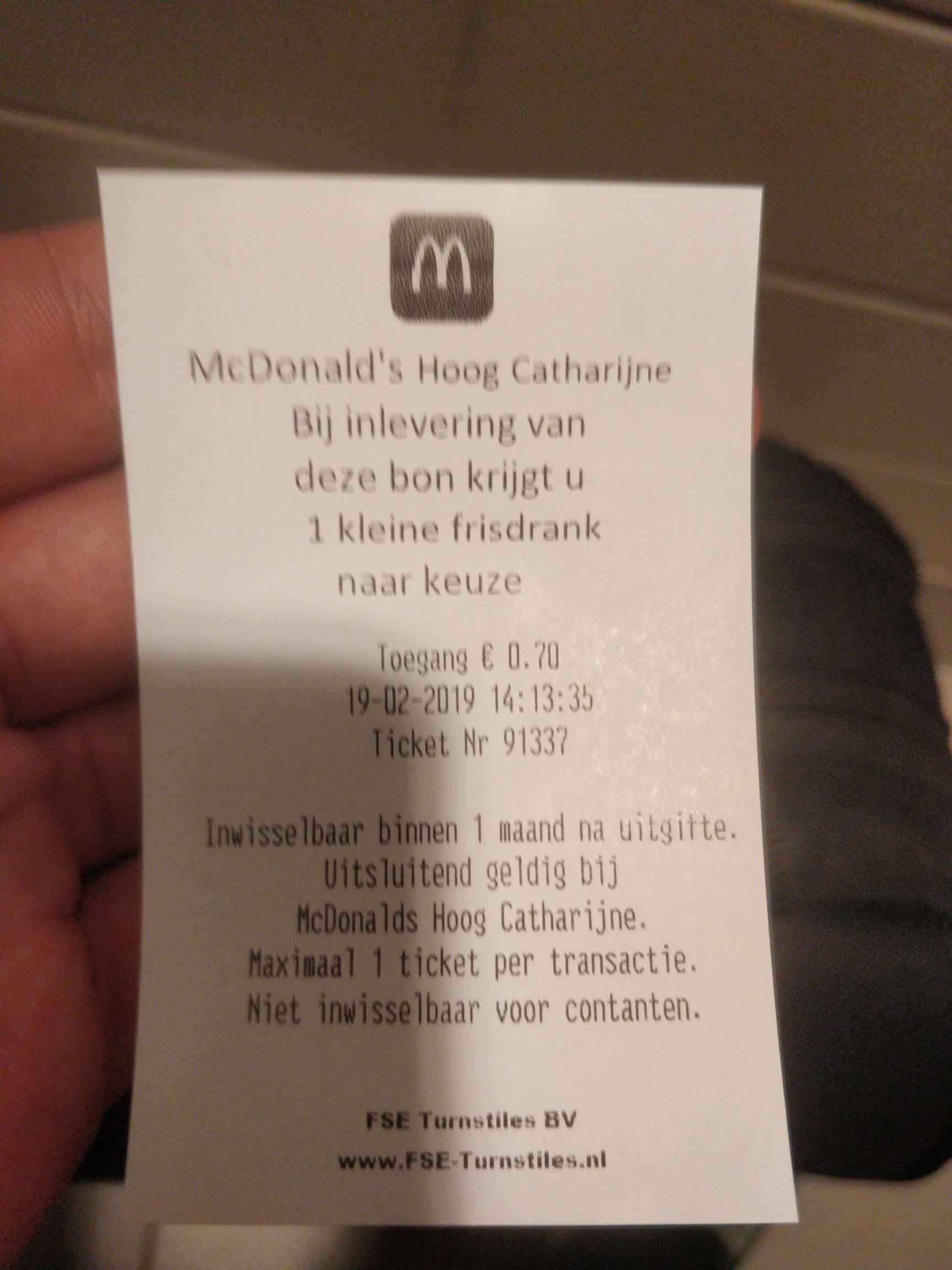 Gratis kleine frisdrank bij toiletbezoek @mc Donald's Utrecht hoog Catharijne