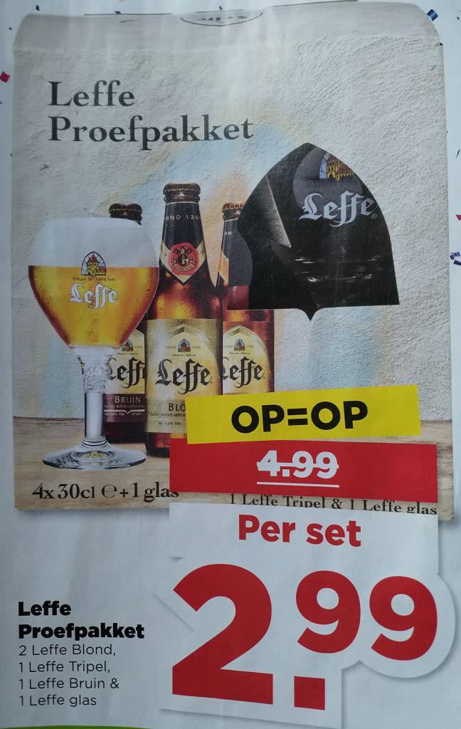 Leffe proefpakketje met 4 flesjes + glas voor €2,99 @ Plus
