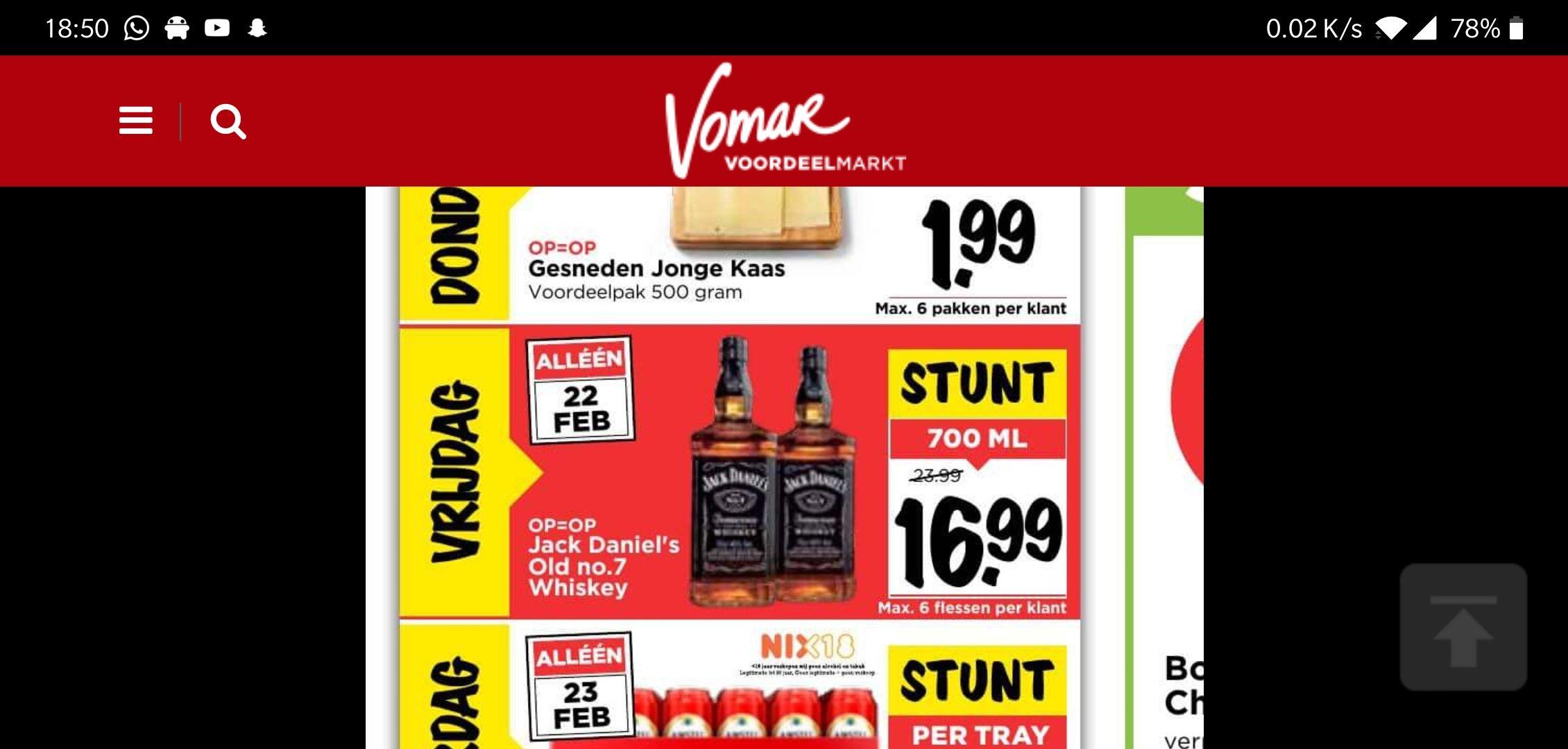 Dagdeal/stunt Jack Daniel's. Vomar Supermarkt