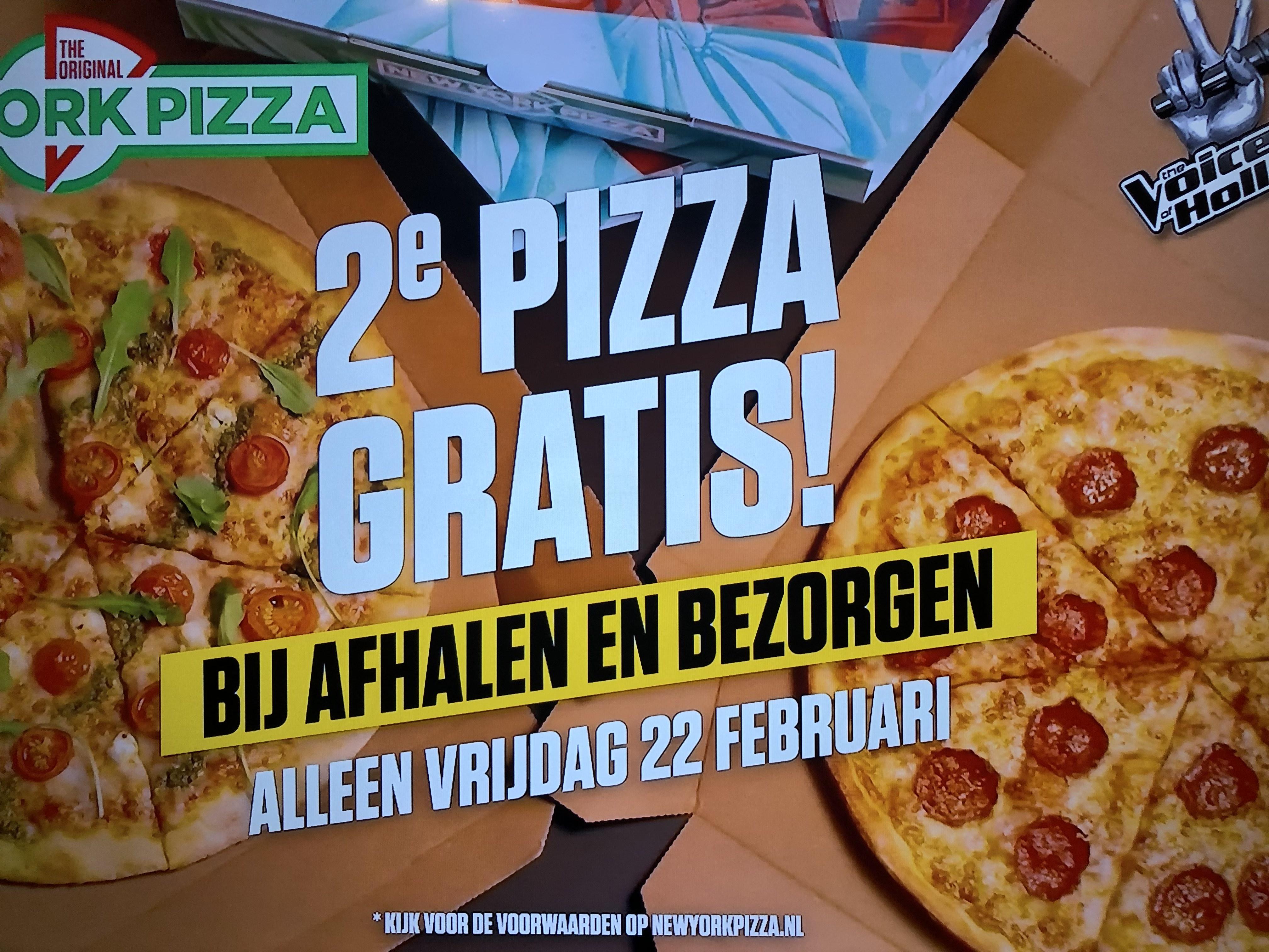 2e Pizza Gratis alleen VANDAAG bij Bezorgen & Afhalen @ New York Pizza