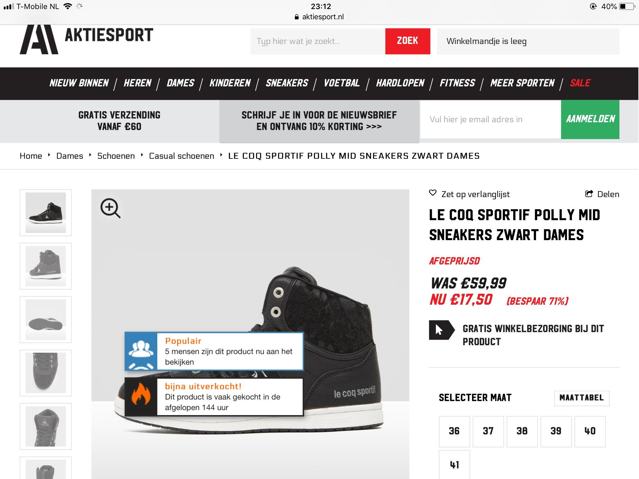 Le Coq sportif sneakers bij Aktiesport 70% korting