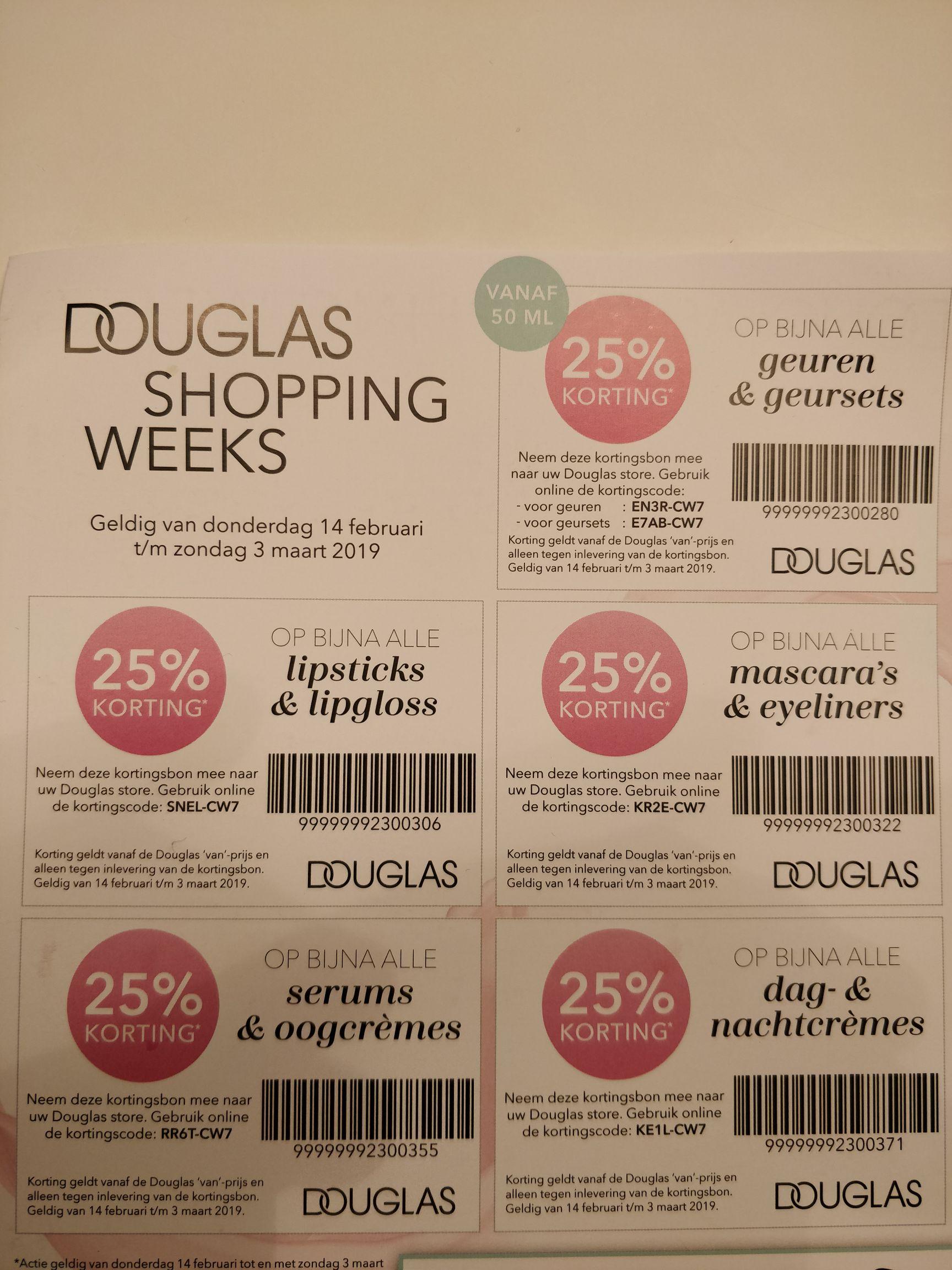 Douglas Shopping Weeks 25% korting