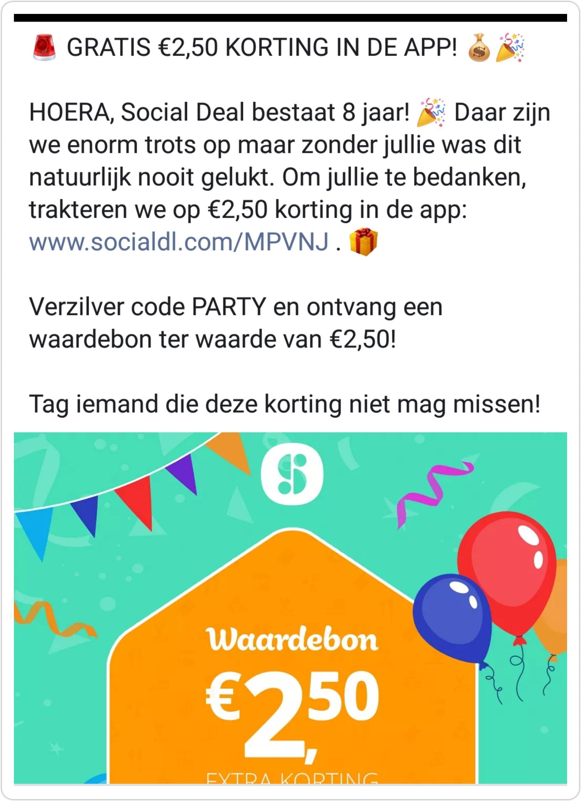 €2,50 Social Deal tegoed in de app