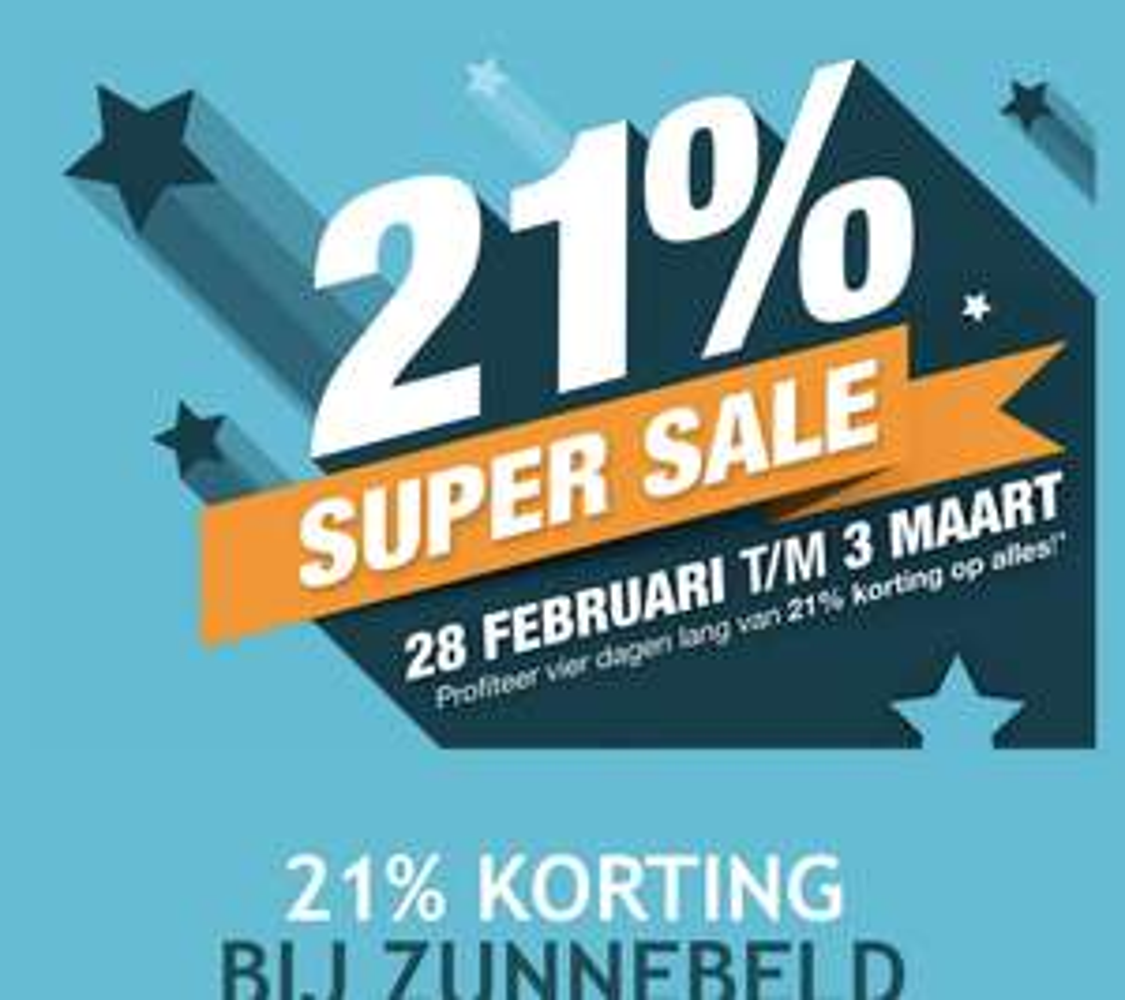 Aankondiging: 21% korting op alles* @Zunnebeld
