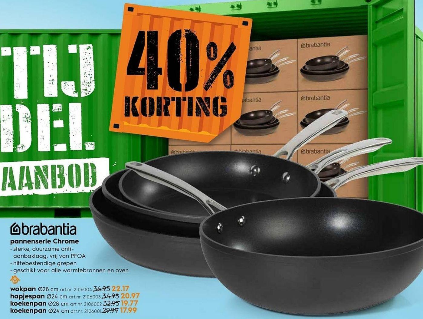 40% korting | Brabantia pannenserie Chrome @Blokker