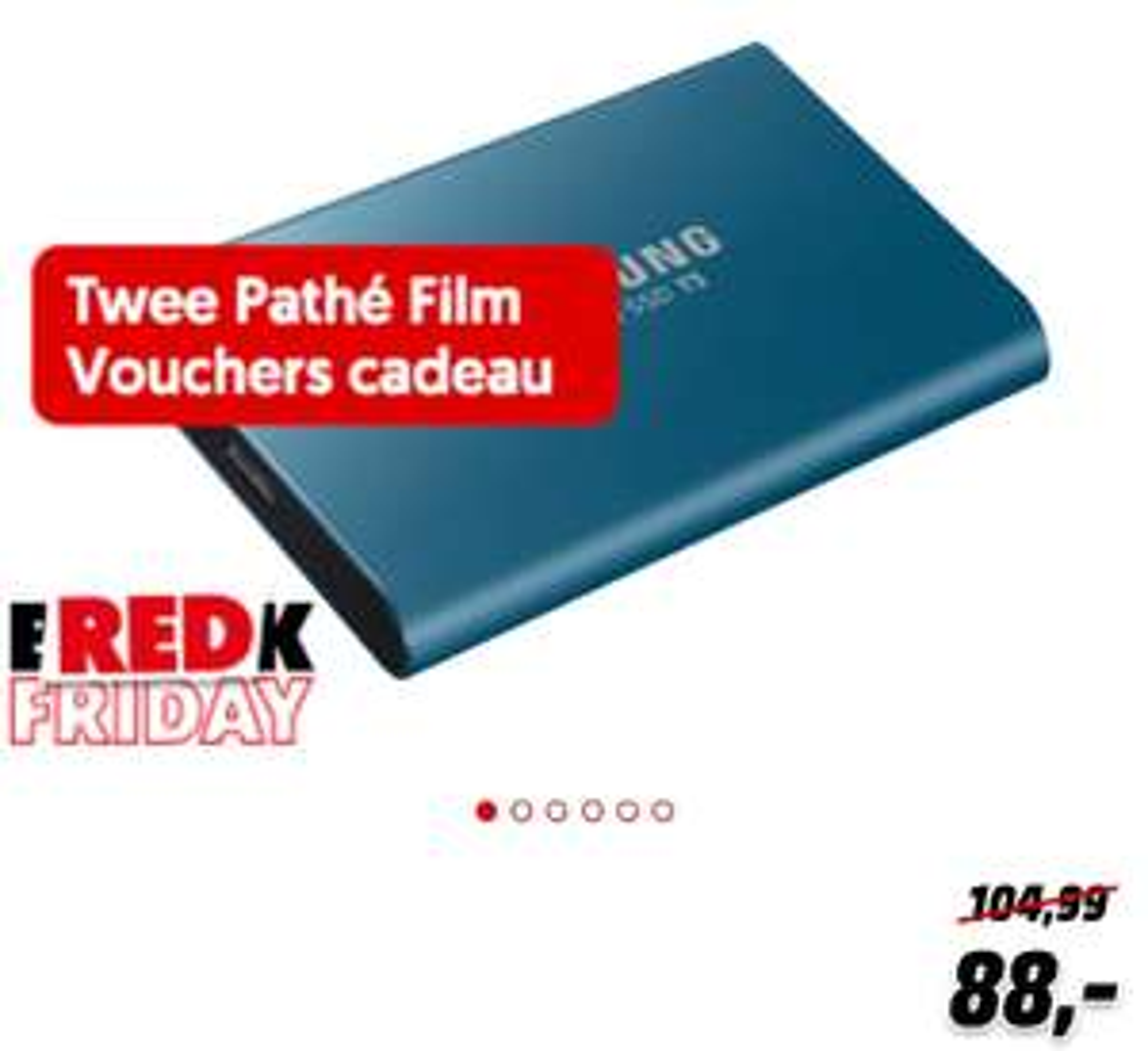 Samsung T5 500GB portable SSD + 2 Pathe film vouchers @Mediamarkt