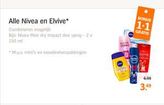 1+1 gratis op Nivea en Elvive