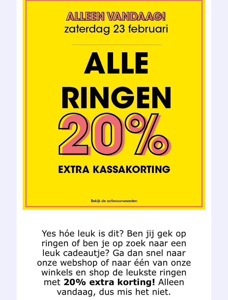 Alle ringen alleen vandaag met 20% extra korting!