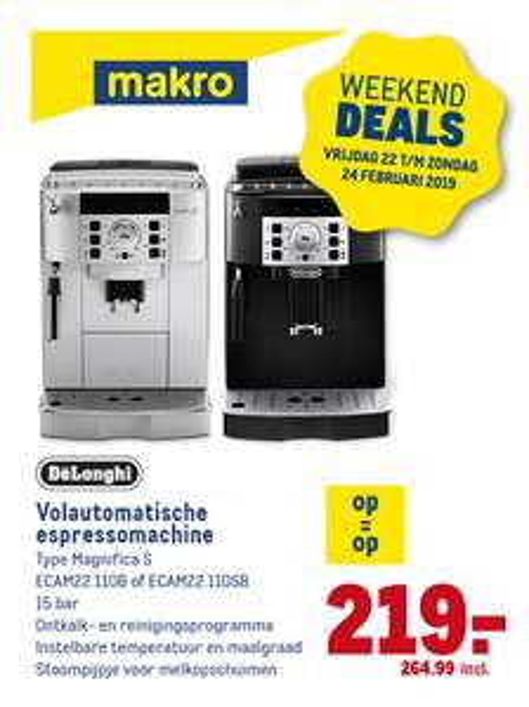 De'Longhi Magnifica ECAM 22.110B/22.110SB Volautomatische espressomachine