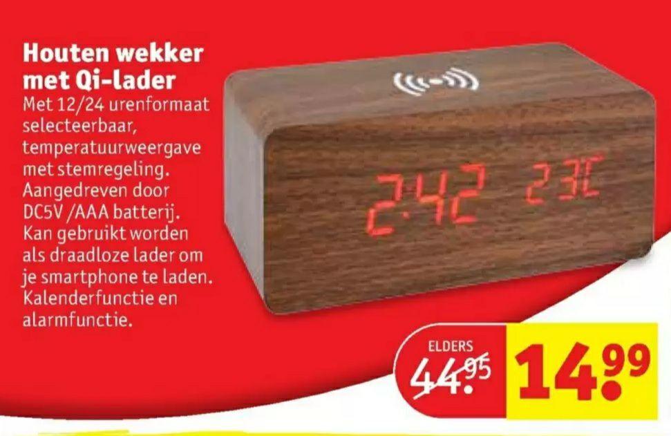 """""""Houten"""" wekker met ingebouwde QI lader voor €14.99 @ Kruidvat"""