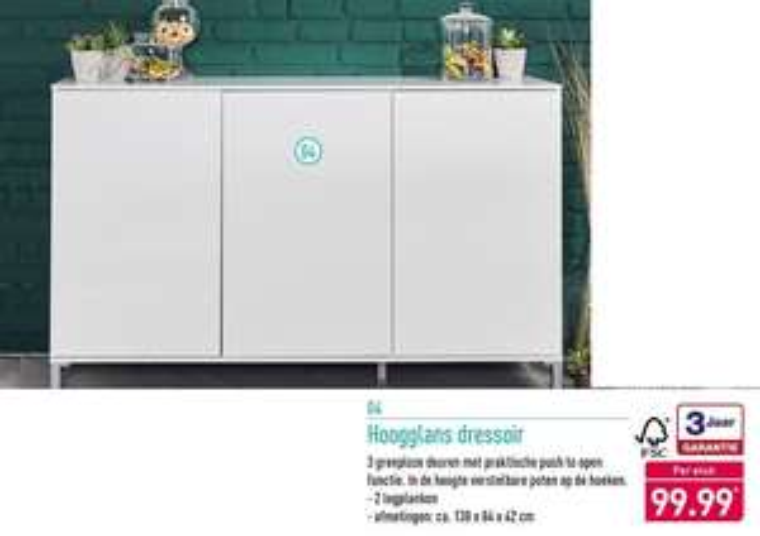 Hoogglans dressoir van €99,99 voor €30,00 @Aldi