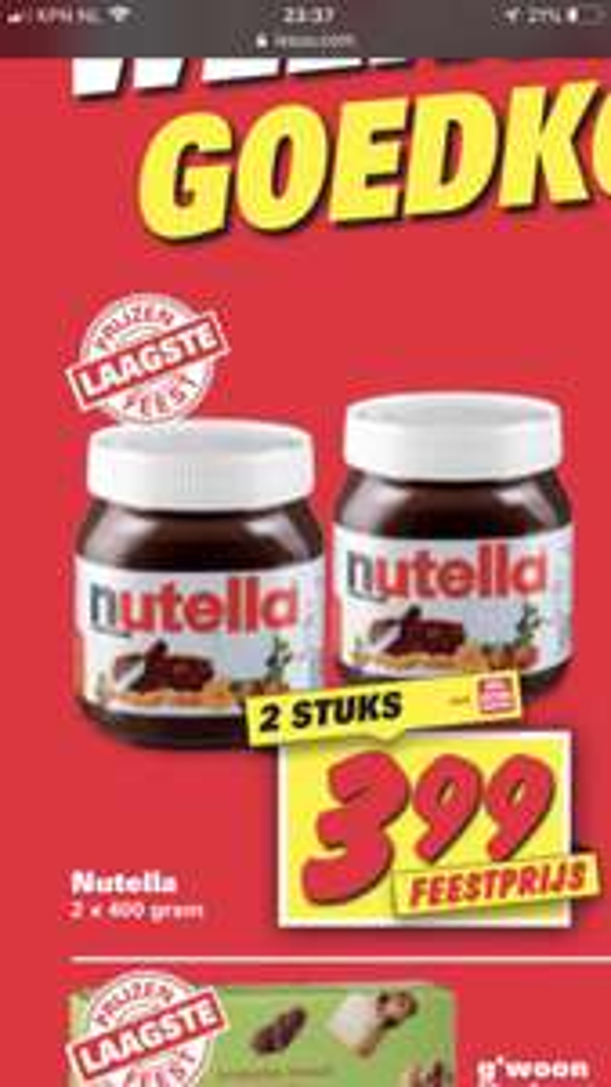 2x 400 gram Nutella