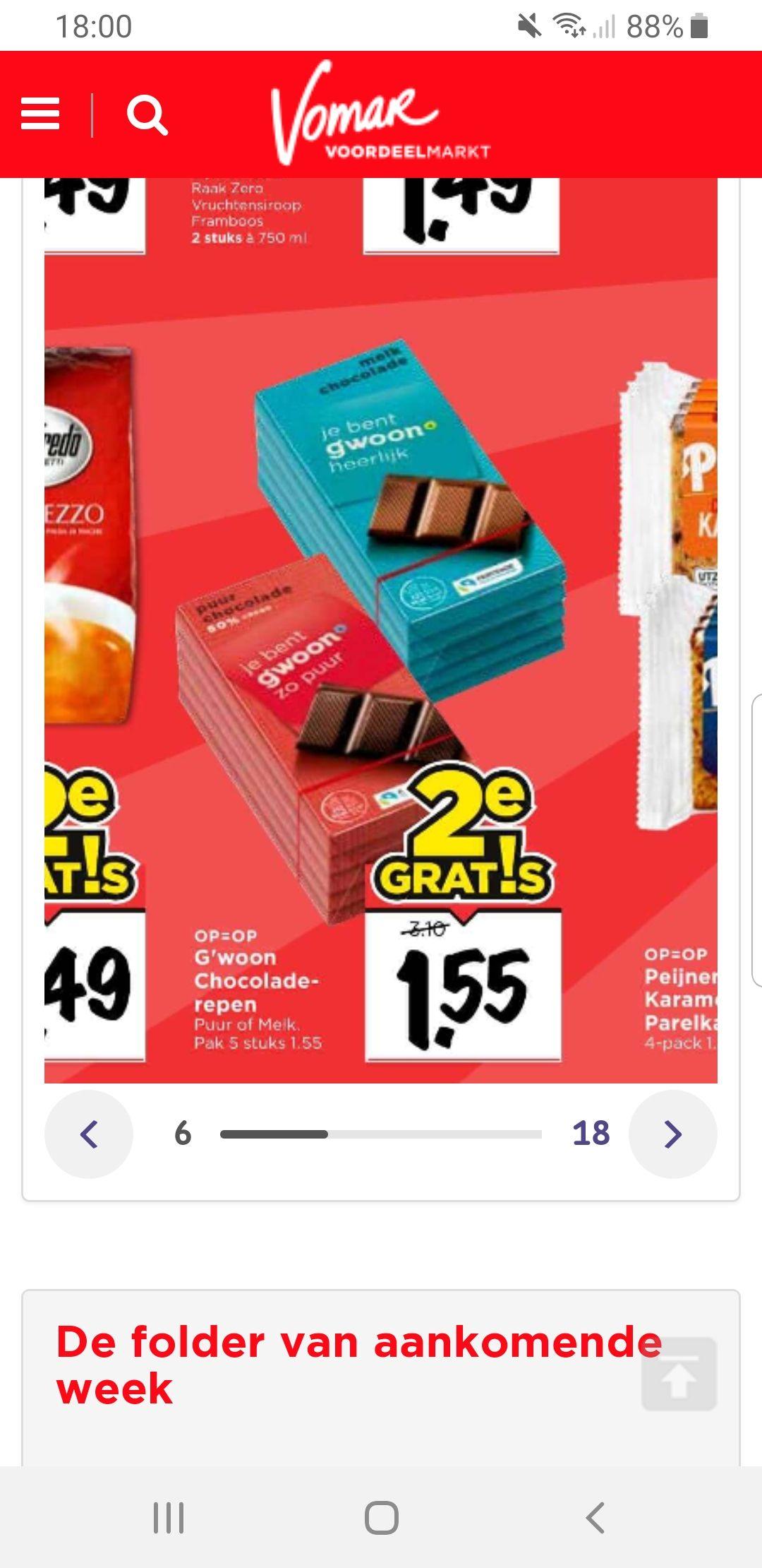 Chocolade 50% korting! 10 repen chocolade voor € 1,55 (dus gemiddeld 15,5 cent per reep), puur of melk