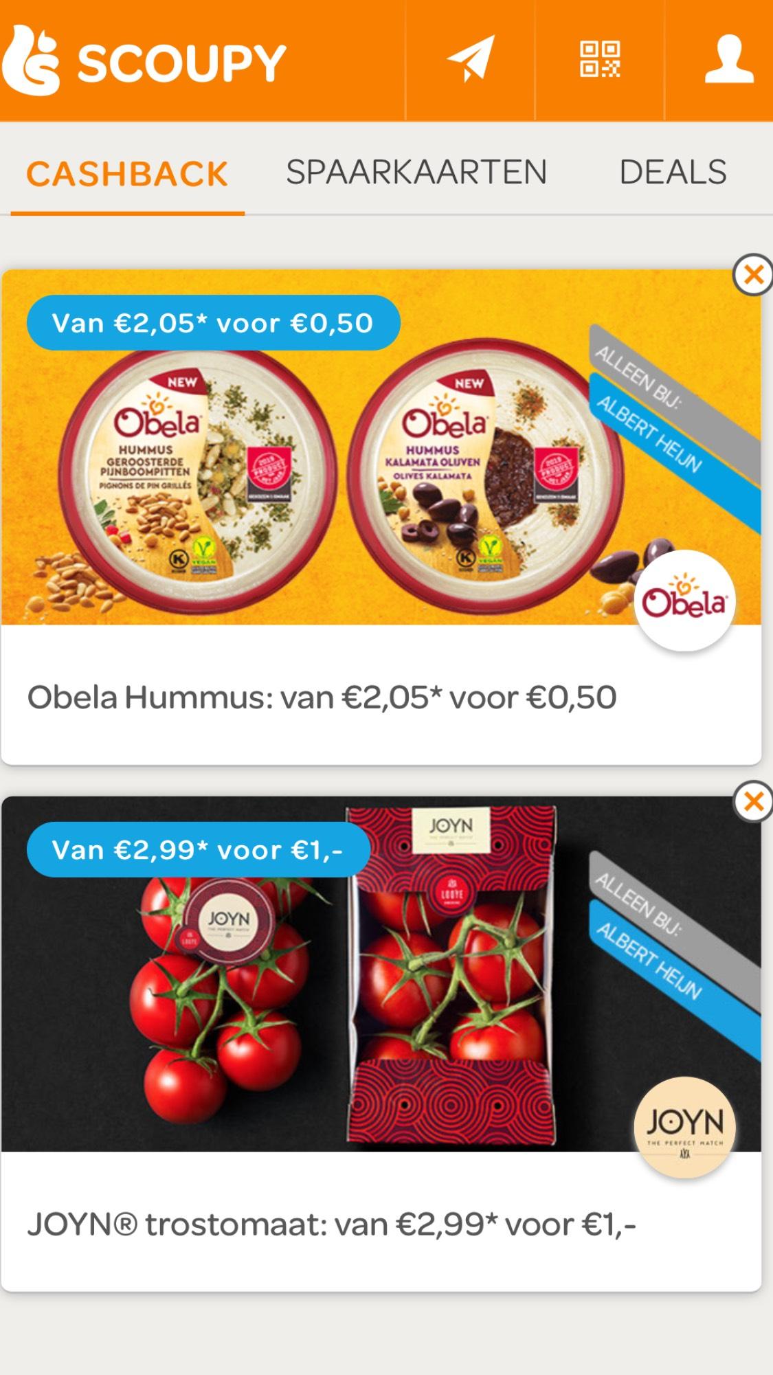 Obela Hummus voor €0,50 en JOYN® trostomaat voor €1,-