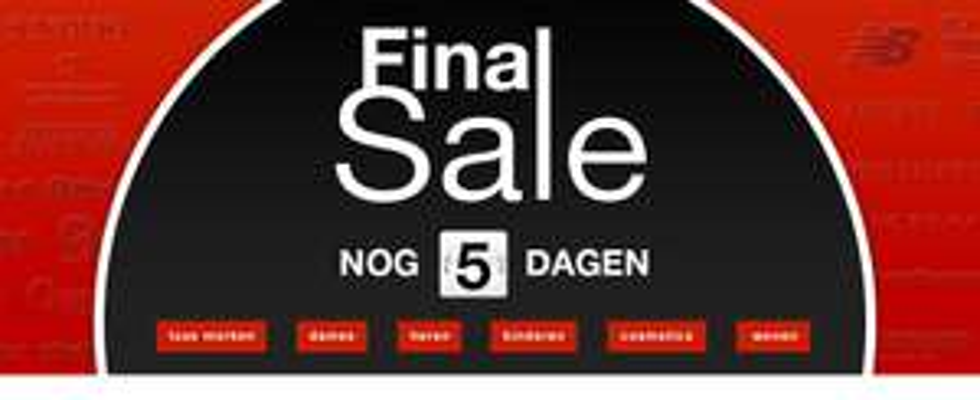 De laatste 5 dagen sale met veel  -80% korting @ de Bijenkorf