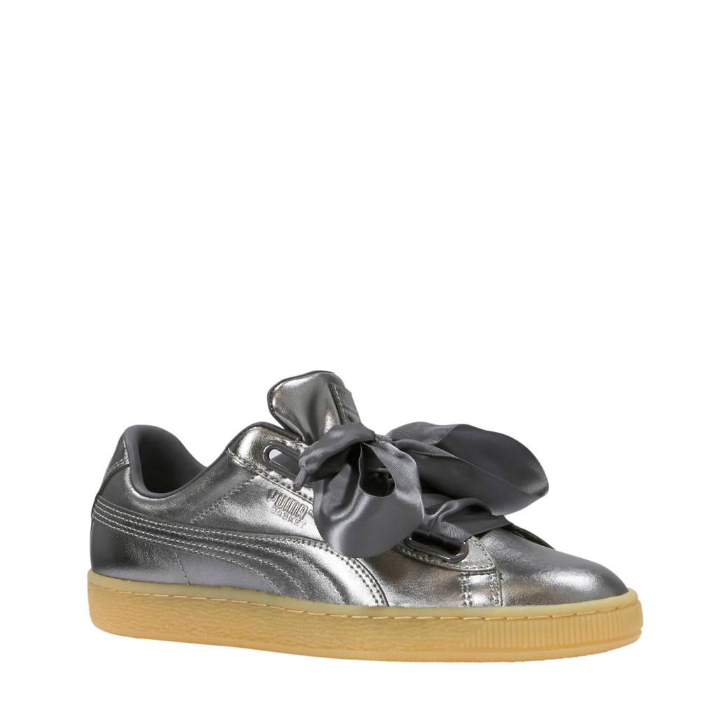 Puma Basket Heart Luxe sneakers leer metallic grijs -75% @ Wehkamp