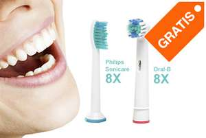 Gratis 8 opzetborstels van Oral B en/of Philips sonicare