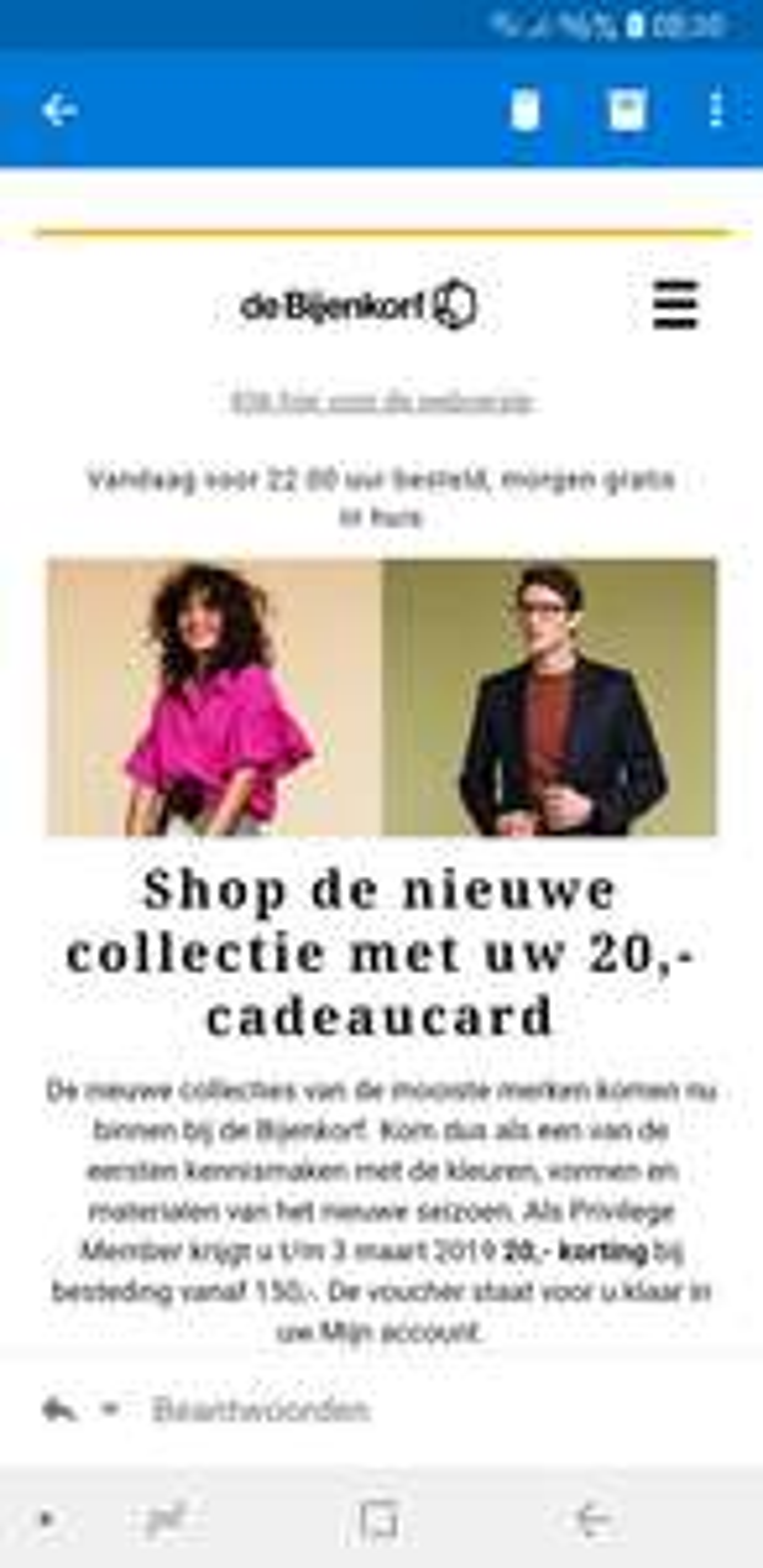 Bijenkorf Cadeaukaart 20 Euro privilege member  (minimale besteding €150)