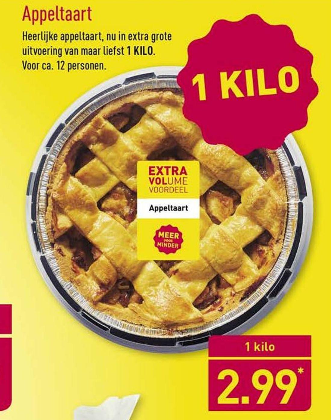 1 kg Appeltaart 12 personen €2,99 @Aldi