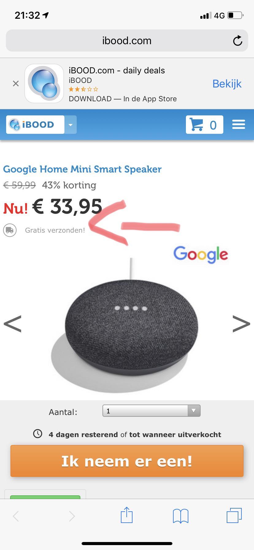 Google Home Mini Smart Speaker @Ibood