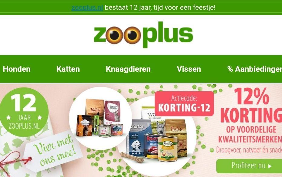 Zooplus 12% Korting op veel merken.