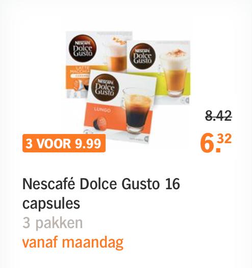 3 dozen Dolce Gusto capsules bij AH voor 9,99 euro
