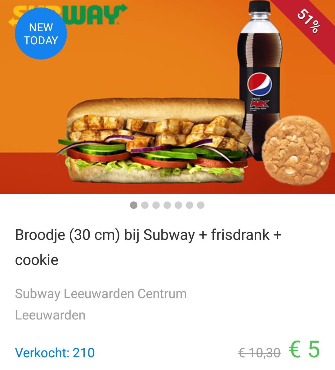 Voor €5 een 30cm Sub, frisdrank en Cookie bij Subway Leeuwarden en Stein