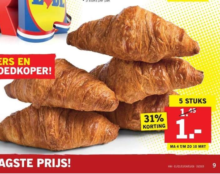 5 Roomboter Croissants voor €1 @ Lidl