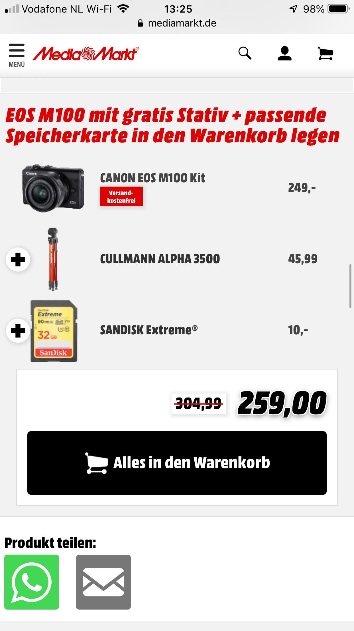 [Grensdeal] Canon Eos M100 + statief + 32gb SD @Mediamarkt.de