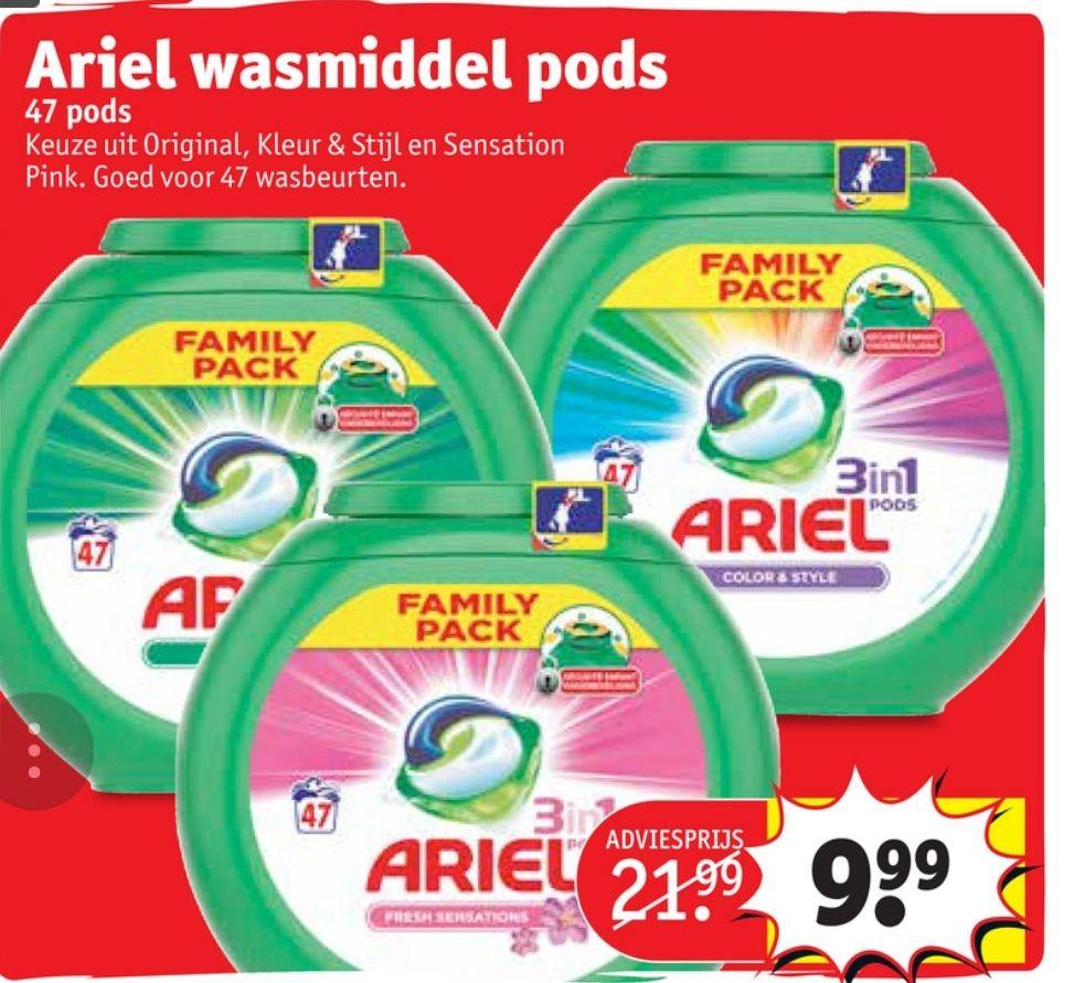 Ariel wasmiddel Pods - 47 stuks (i.p.v. €21,99) @Kruidvat
